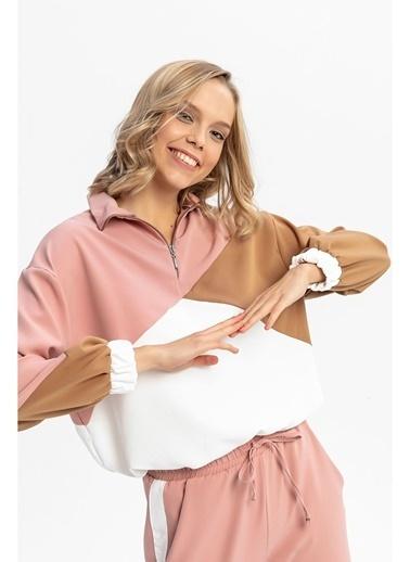 Tiffany&Tomato Yaka Fermuarlı Renkli Sweatshirt - Pembe Ekru Taba Pembe